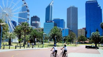 Australia-Perth-Cycling-Past-the-Wheel-of-Perth-Barrack-Square